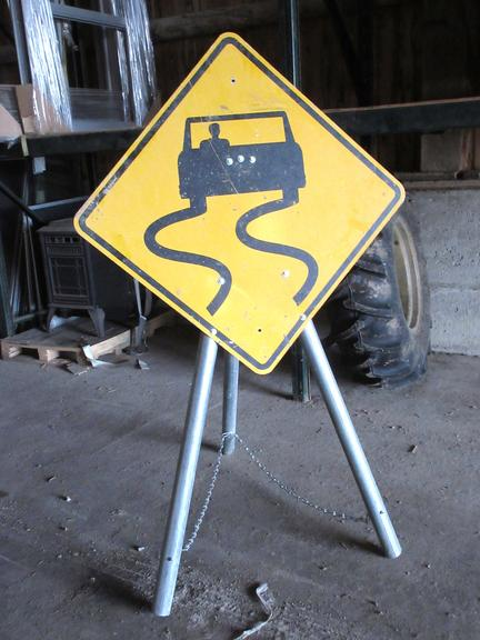 Sign Stand with Caution Sign