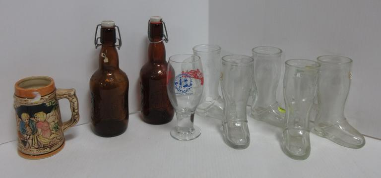 (9) Pieces of Beer Memorabilia: Boots are from Frankenmuth