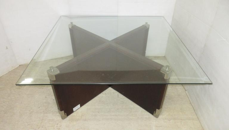 Glass Top Coffee Table with Dark Cherry Stained Base, Klassner Furnishing