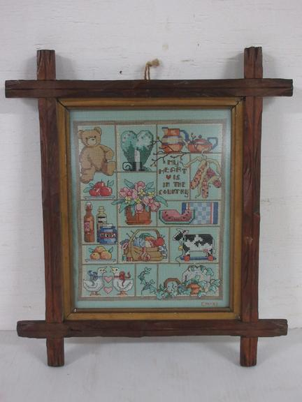 Framed Cross Stitched Country Sampler