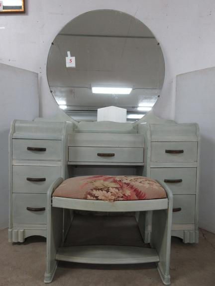 Waterfall Cream Colored Vanity with Seven Drawers, Has Round Mirror with Bench, Matches Lot No. 6