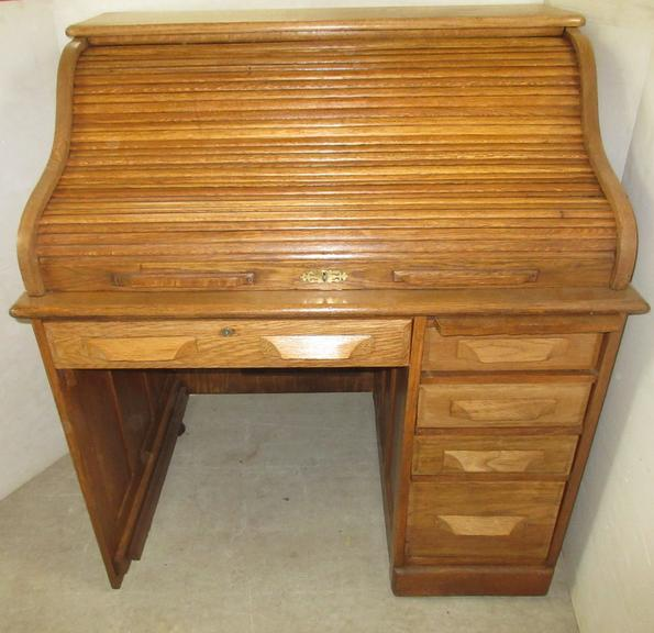S-Type Solid Oak Roll Top Desk, Possibly from the 1900s
