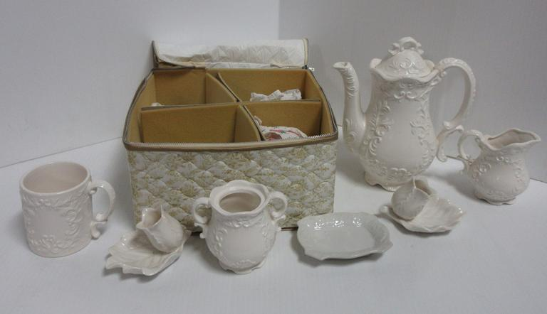 10-Piece White Porcelain Demitasse/Tea Set with a Zippered Storage Case