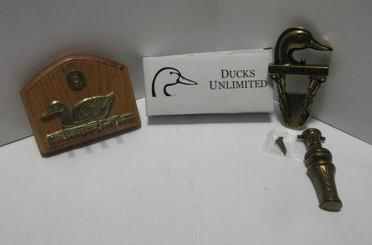 Ducks Unlimited Door Knocker and a Ducks Unlimited Wall Hanger with Butt of a Federal 12-Gauge Shell