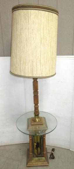 Round Glass End Table/Floor Lamp