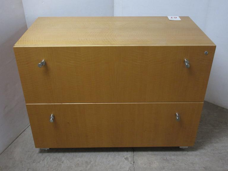 Heavy Duty Tiger Wood Two-Drawer File Cabinet