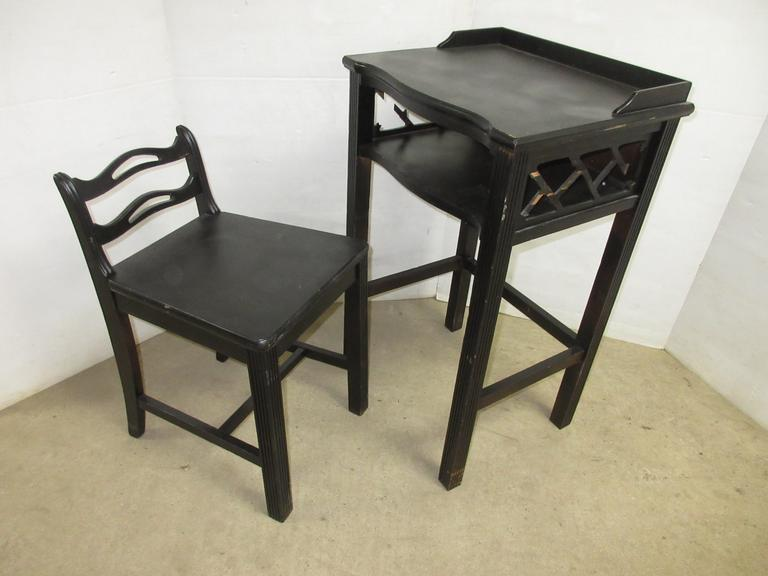 Antique Telephone Stand and Chair, Very Old