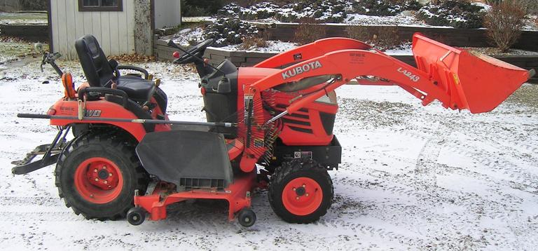 "Kubota BX2350 4WD Tractor (539 Hours) with Attached Front Loading Bucket Model LA243 and 60"" Mowing Deck, CN1114"