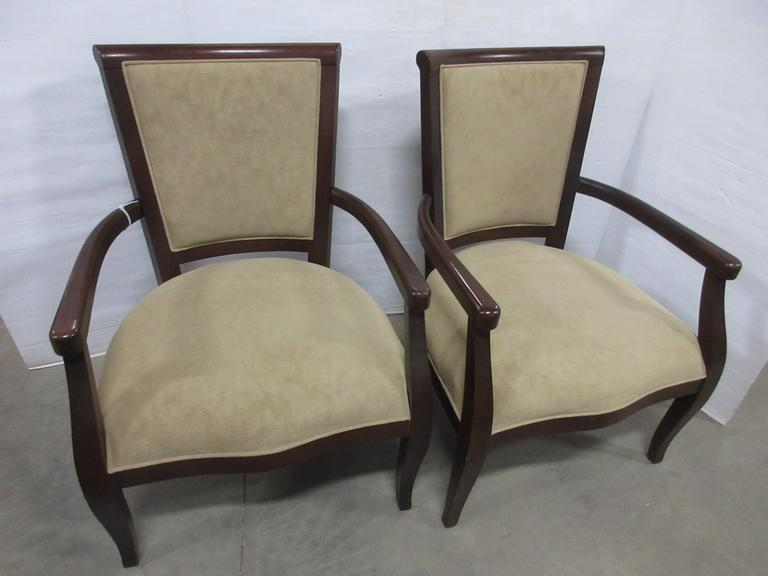(2) Dark Cherry Wood Living Room Sitting/Accent Chairs with Tan Microfiber Seats and Backs