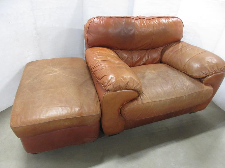Leather Chair and Ottoman, Matches Lot Nos. 32 and 33