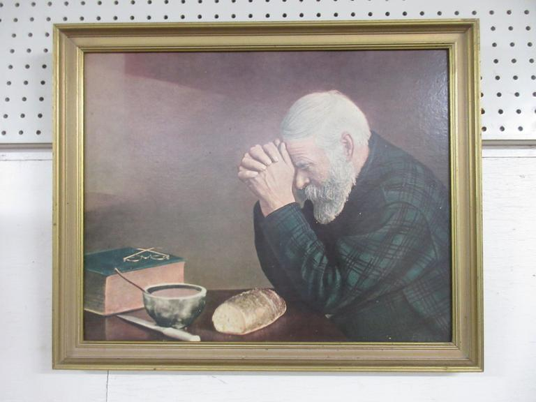 Older Grace Print by Eric Enstrom, Depicts an Elderly Man with Hands Folded, Saying a Prayer Over a Table with a Simple Meal