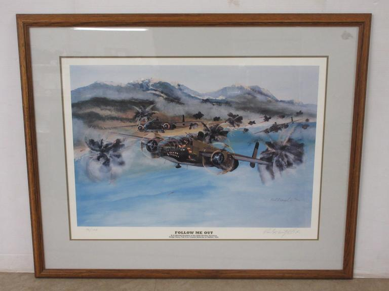 "Framed Artist Print of Airplane, Titled ""Follow Me Out"" by Paul F. Wentzel Sr., Low Production Number, Seller States Artist Recently Passed"