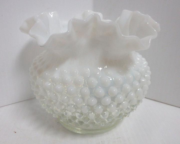 Fenton Hobnail Vase, Transitions from Clear to Milk White