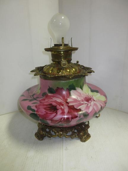"Victorian Antique Gone with the Wind Style Oil Lamp Base, Converted to Electric, Complete with 4"" Shade Ring"