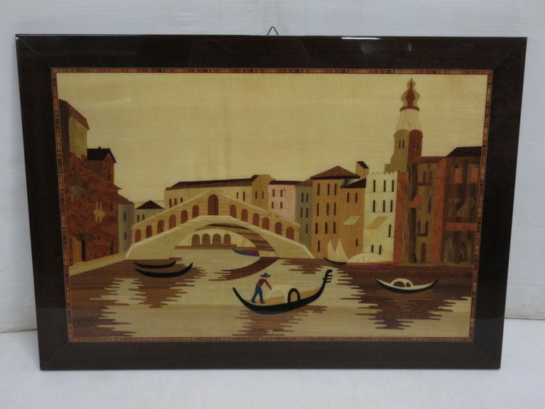 Older Parqueted Inlaid Wood Venice Scene, Made in Italy