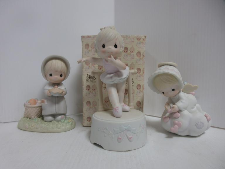 "(3) Precious Moments Figures, Include: ""Lord Keep My Life in Balance"" Musical, ""November"" with Box, and ""Sending You My Love"""