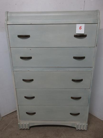 Waterfall Chest of Drawers, Painted Cream in Color, Has Five Drawers, Matches Lot No. 5