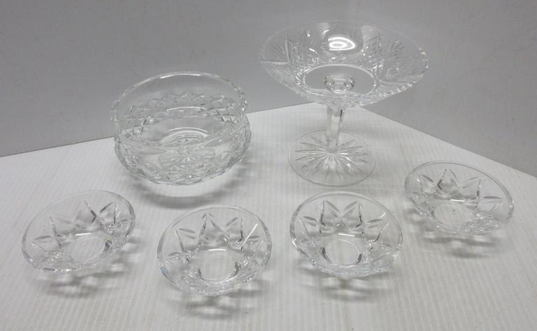 (6) Pieces of Waterford Crystal, Include: 4- Individual Nut Cups, Pedestal Compote, and Low Bowl