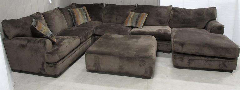 "Large Brown Four-Piece Suede ""A"" Shaped Living Room Sectional Couch with Large Square Ottoman"