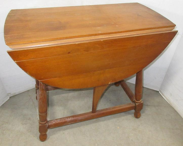 Oval Wood Drop Leaf Table