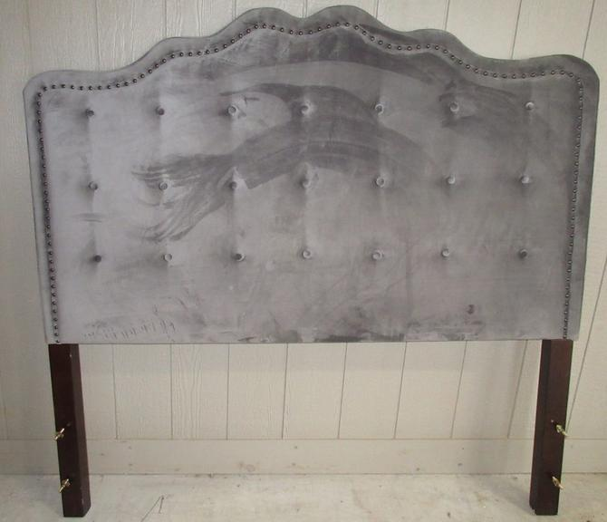 Queen Size Gray Velvet Headboard