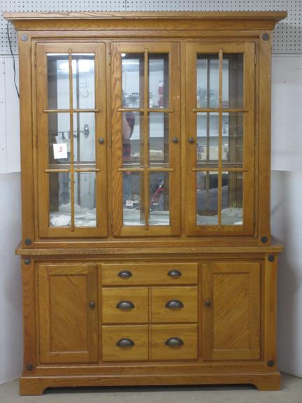 Large Two-Piece China Hutch, All Glass is Included, Comes with Two Shelves and Glass for Side
