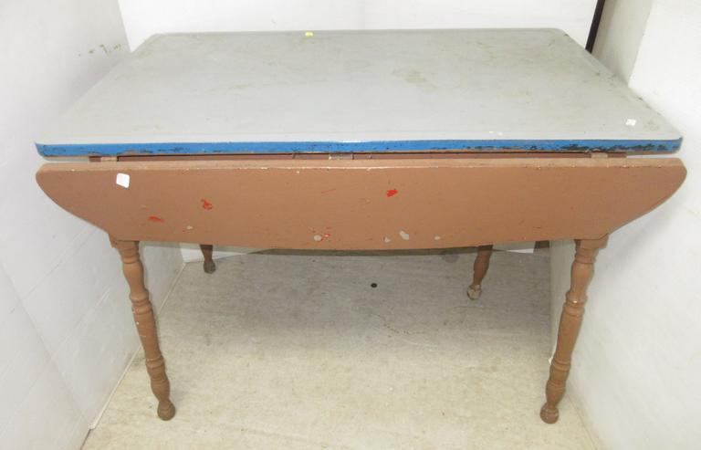 Old Porcelain Top Table with Fold Out Sides