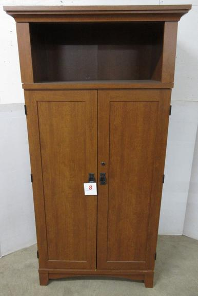 Wood Grain Computer Cabinet, Made by Sauder, Has Area for Printer and Tower, Keys in Office