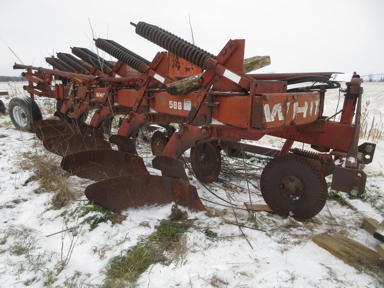 "White 585 5-18"" Bottom Plow, In Furrow, Nice Condition"