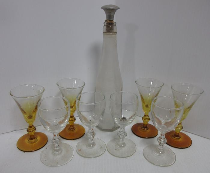 (8) Glass Stem Glasses and an Older Glass Decanter