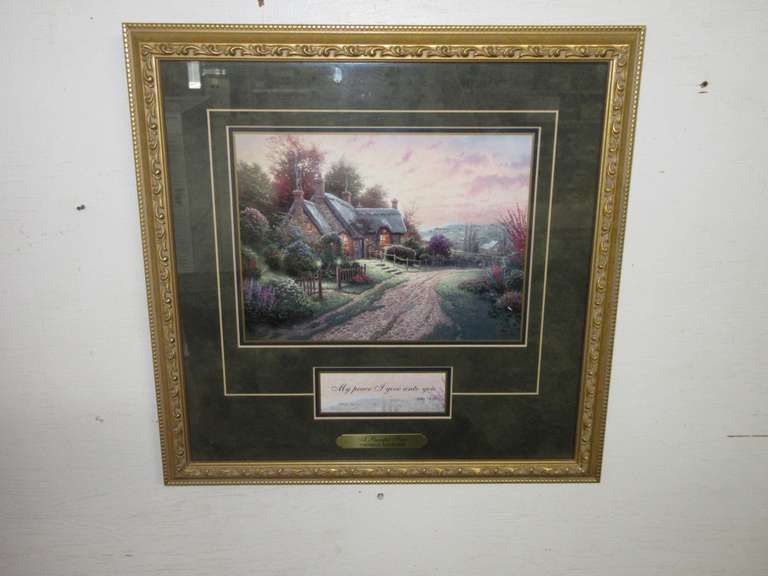 "Thomas Kinkade ""A Peaceful Time"" Accent Print with CoA, Matted and Framed"
