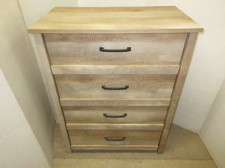 Rustic/Distressed Wood Look Tall Four-Drawer Bedroom Dresser, Wood Grain
