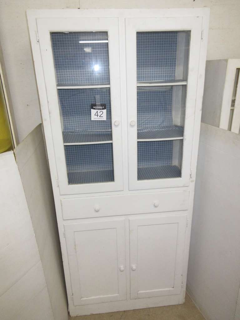 Primitive Kitchen Cabinet with Five Shelves, Has Two Drawers, and Four Doors,