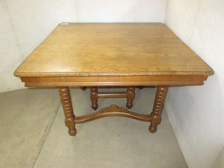 Antique Oak Dining Table with Turned Carved Legs