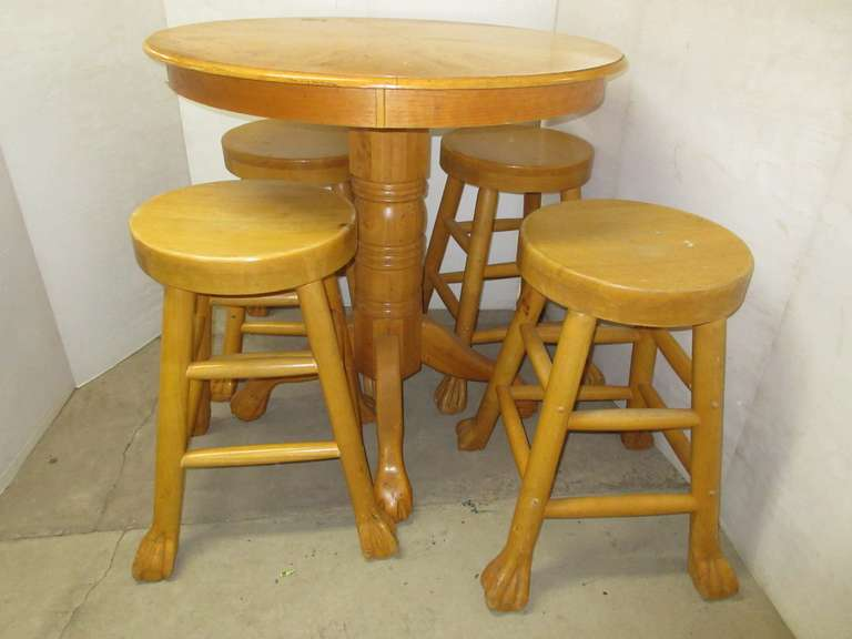 Pub Height Oak Wood Table with (4) Stools, Quality Made