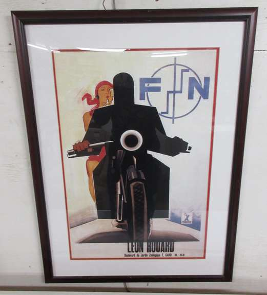 Leon Houard FN Motorcycles by Marcello Nizzoli Large Framed Print