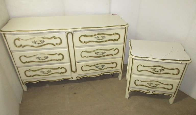 "French Provincial Dresser, 52""W x 18""D x 31""H, Has Scratches; Night Stand, 23""W x 16""D x 24""H, Bottom is Damaged"