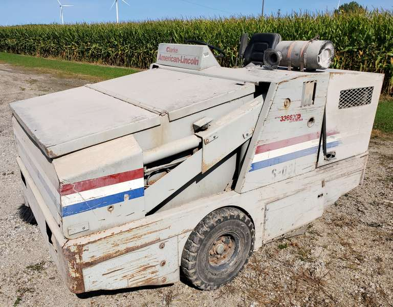 Clarke American Lincoln Sweeper in Running Condition, Ford 4-Cylinder Engine (Runs Well - Needs Throttle Cable Work)