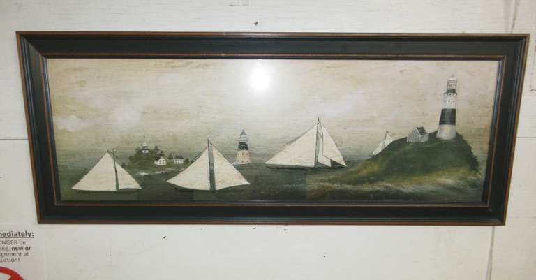 Nautical Ocean Large Framed Print Featuring Sailboats, Lighthouse, and a Village