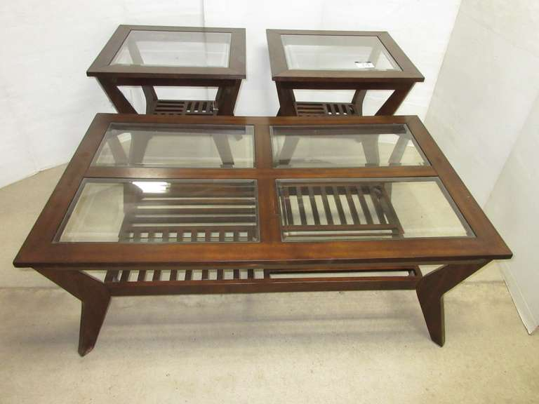 Standard Furniture Grand Designs Complete Set of (3) Living Room Coffee/End Tables, Dark Wood with Glass Top Inserts, Matches Lot No. 35