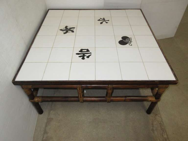 Table with Bamboo/Rattan Base and Porcelain Tile Top, Japanese Symbols, Well Made