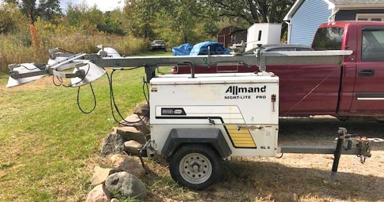 "Allmand Portable Light Tower, 30' Tall Extended, CAT Diesel Powered, Great Tires, Dual Hitch, Pintle or 2"" Ball, Works Great, No Longer Need"