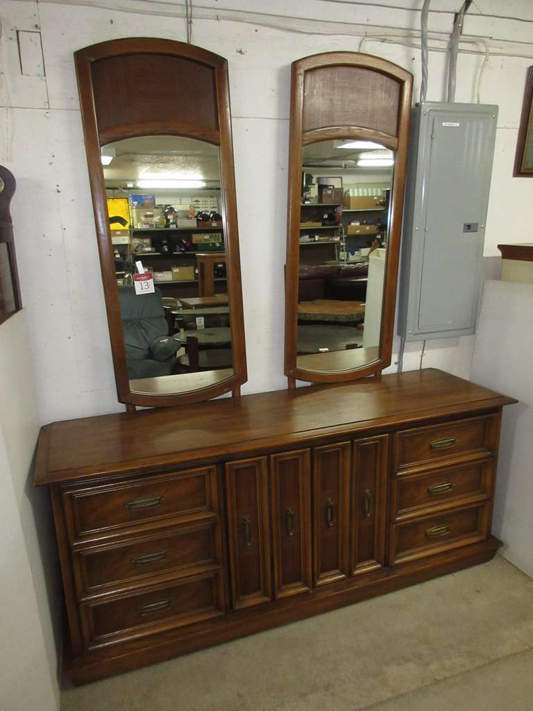 Dual Mirrored Wood Dresser