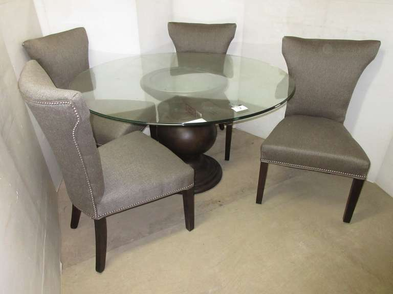 Complete Six-Piece Glass Top Kitchen Table with Round Urn Base and (4) Matching Gray Tweed Tufted Sitting Chairs