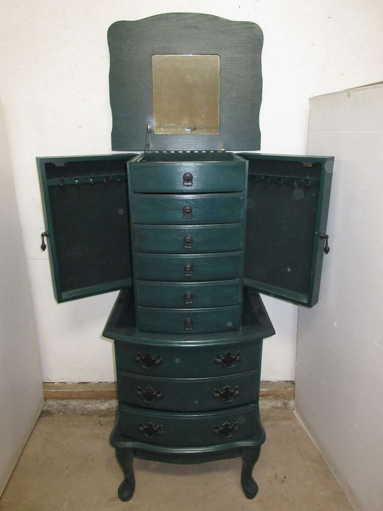 Emerald Green Jewelry Armoire with Eight Drawers, and Two Necklace Compartments