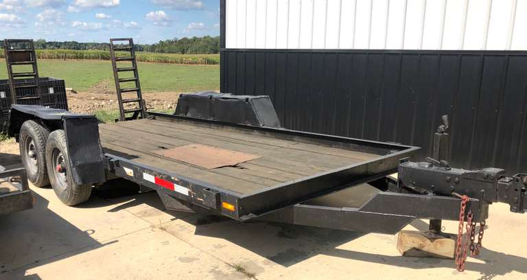 Cronkite 16' Skid Loader Trailer, Fold-Up Ramps, Good Condition, Sells with Bill of Sale