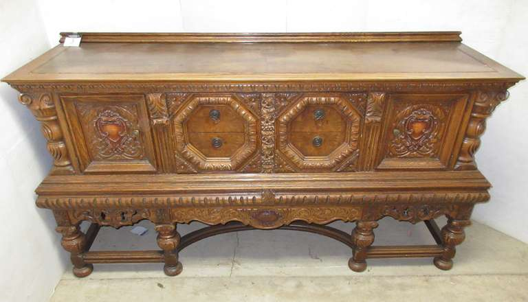 Old Wood Jacobean Buffet, Matches Lot No. 2