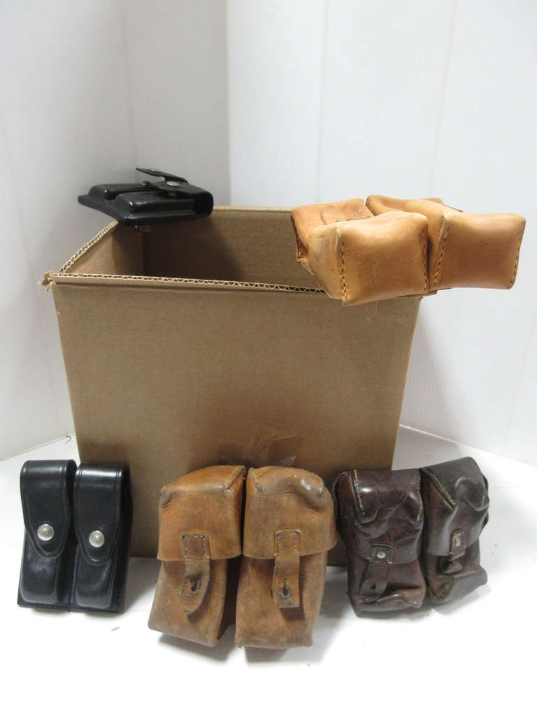 (13) Assorted Pouches, Includes: Some Military, Some Police Mostly Leather, For Magazines, Stripper Clips, Speed Loaders etc..