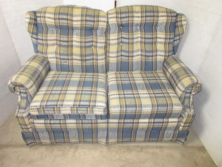 Blue and Yellow Plaid La-Z-Boy Loveseat