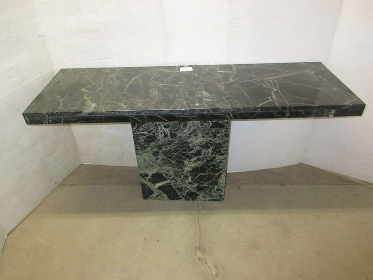 Solid Marble Sofa Table from Art Van, Very Heavy, Base is Hollow, Has Jade Green Tones, Matches Lot No. 6 and 8